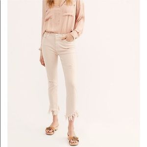 Free people frayed ankle white jeans